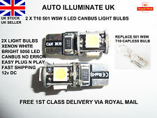 T10 501 W5W 5 LED SMD CAR SIDE LIGHT BULBS LAMPS NO ERROR CANBUS XENON WHITE 12V