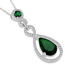"925 Sterling Silver Green Emerald-Tone Teardrop Statement Pendant Necklace, 18"""