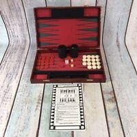 Vintage Backgammon Set Faux Leather Hard Case Red Complete RARE
