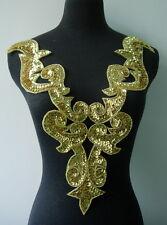 BD02 Huge Gold Bodice Sequin Bead Applique Tutu/Belly Dance/Samba/Designer