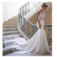 Mermaid Wedding Dresses 2019 V Neck Sleeveless Appliques Backless Bridal Gowns