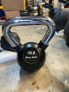 15 LB Kettlebell Hand Weight 15 Pounds Total Rubber Coated