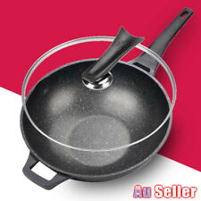 32cm Kitchen Stone Wok Non Stick Coat Pan With Lid Induction Stir Fry Cookware