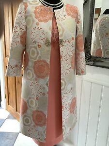 Carla Ruiz Size 12 93828 Orange Peach & Ivory Special Occasion Dress & Coat New
