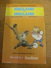 25/02/1982 England v Holland [At Wembley] (slight marked, teamc changes). Item a