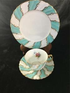 Gladstone Plate Cup & Saucer #8162 Green & Gold Trim Design Floral Old Grecian