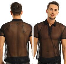 Sexy Men's Mesh Crop Tops T-Shirt Fishnet See-through GYM Shirt Tank Top Blouse