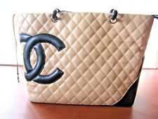 Authentic Chanel Cambon Biege & Black Quilted Leather  Tote Bag