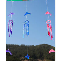 Cute Dolphin Wind Chime4Metal Tubes Home Garden DecorCrystal Hanging Bell RingGN
