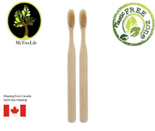 2 X Bamboo Toothbrush Wood toothbrush soft bristles Eco friendly Brown