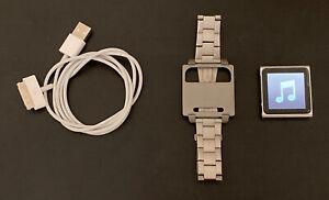 Apple iPod nano 6th Gen Silver (16 GB)  FLAWLESS SCREEN. Hex Metal Watch Band