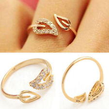 1pc Sexy Women Golden Leaf Open Ring Crystal Rhinestone  Finger Rings Jewelry