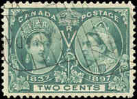 1897 Used Canada F-VF Scott #52 2c Diamond Jubilee Issue Stamp