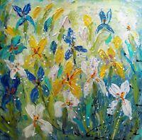 IRIS FLOWERS 36x36 Original Large Painting Abstract White Blue Green Aqua