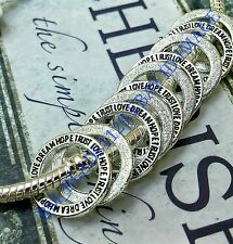 10 Silver Dream Love Hope Trust Word Rings European Spacer Beads Charms Pendants
