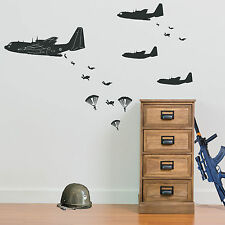 Military Air Assault Soldiers Planes Attack New Army Men Wall Stickers Decal A17