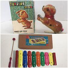 Vintage Japan Tin Wind Up Jumping Dog Toy & Xylo 8-tone Works Original box