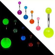 CH 7Pcs Glow In The Dark Belly Button Navel Bar Rings Body Piercing Jewelry