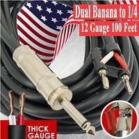 1x Dual Banana to 1/4 - 12 GAUGE 100 Feet PREMIUM DJ PA PRO TRUE SPEAKER CABLE
