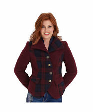 Polyester Check Hip Button Coats & Jackets for Women