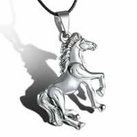 Pferd Halskette in Silber Edelstahl Kühler Anhänger Leder Schnur Kette Schmuck