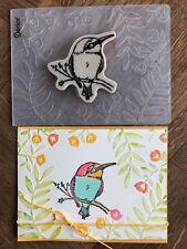 Stampin Up retired BIRD ON BRANCH Stamp & FLOWERS & VINES Embossing folder