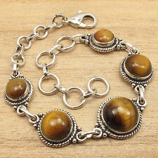 Silver Overlay Authentic Tiger'S Eye Jewelry Chunky Bracelet 7 7/8 Inch ! 925