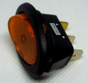 Amber 240v 10A Illuminated Oval Rocker Switch 35 x 18mm cut out