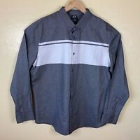 Oakley Button Up Shirt Mens XL Regular Fit Gray White Long Sleeve Collared