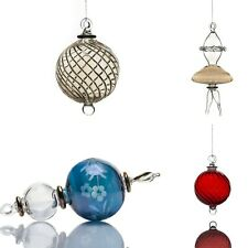 4x Transparent Ribbed hand Blown hanging christmas ornaments Glass | Xmas decor