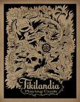 Tikilandia Playing Card Art Print Lowbrow Tiki Bar Skull Tentacle Man Cave
