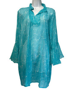 kathy ireland jardin nicholas walker royal standard blue floral swim cover up L