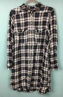 River Island Blue White Black Check Tartan Shirt Tunic Dress 14 - B53