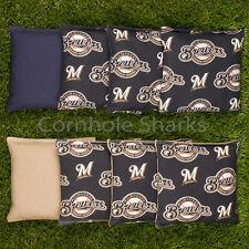 Cornhole Bean Bags Set of 8 ACA Regulation Bags Milwaukee Brewers Free Shipping