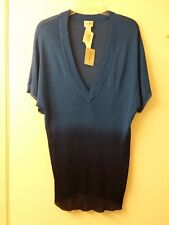 Chico's Adriatic Dip Dye Blue Lightweight  Vneck sweater top 2 New