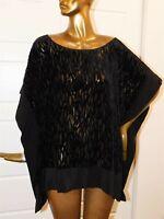 Eileen Fisher Black Rayon Silk Sheer Poncho Blouse sz L