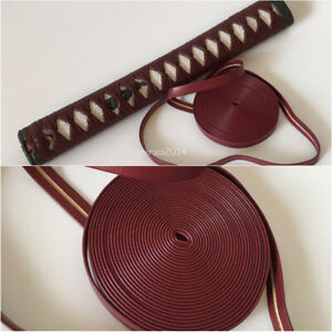 Top quality Dark red leather ito/sageo used for japanese samurai sword