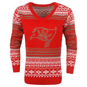 FOCO NFL Women's Tampa Bay Buccaneers Big Logo Aztec V-Neck Sweater