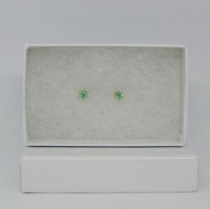 Natural Ethiopian Emerald Solitaire Stud Earrings Set in 14kt YGF, 3.3 mm Rounds