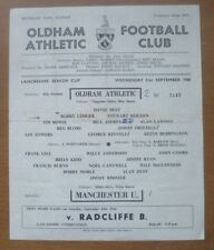 Oldham Ath. v Manchester Utd, 21/09/1966 - Lancashire Senior Cup Programme (S/S)