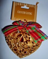 COUNTRY LIVING VINTAGE LOOK GOLD HEART RED GLASS BEAD CHRISTMAS PLASTIC ORNAMENT