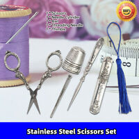 5pcs Pointed Stainless Steel Scissors European Classical Household Scissors Set