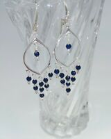 STERLING SILVER BLUE SAPPHIRE CHANDELIER LEVER BACK EARRINGS