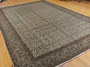Authentic Ca1900-1939s Antique Natural Wool Pile Hereke Rug 7x10ft