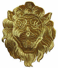 """7"""" Embroidery Iron On Royal Golden Lion Applique Patch"""