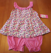 INFANT GIRLS 2PC SLEEVELESS MULTICOLOR FLOWER TOP & BLOOMERS  SIZE 12 MONTHS