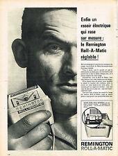 PUBLICITE ADVERTISING  1960   REMINGTON   roll-a-matic  rasoir éléctrique