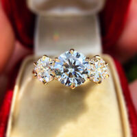 Luxury 925 Silver Round Moissanite Wedding Engagement Ring Women Gift Wholesale