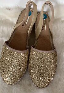Carmen Saiz Women Gold Glitter Close Toe Flat Espadrille Shoes Size 8(41)D