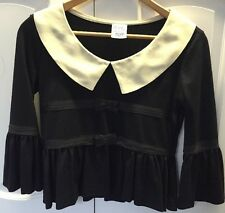 By Moshino Cheap and Chic Wool Top Long Bell Sleeves Black Off White Bow Peplum